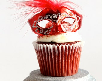 Miniature, Mini Masquerade Masks (Red) Cake Topper, Cupcake Topper, Paris Decoration, Centerpiece Decor, overthetopcaketopper
