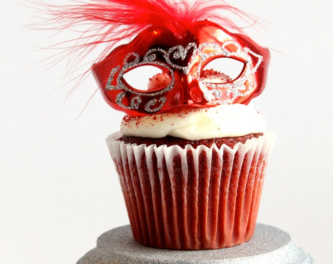 Featured listing image: Miniature, Mini Masquerade Masks (Red) Cake Topper, Cupcake Topper, Paris Decoration, Centerpiece Decor, overthetopcaketopper