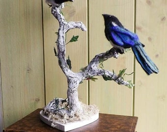 Unique wedding topper,personalised cake topper,birds on a branch,, magpies ,anniversary gift, needle felted birds in a branch