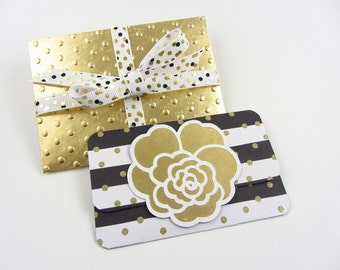 Gift Card Holders and Embossed Envelopes (2) - Gold, Black and White