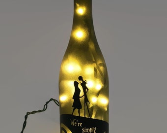 Nightmare Before Christmas Wine Bottle Lamp / Jack and Sally / Gifts for Men