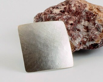 Silver brooch plain square / sterling silver/curved/forged/matte/polished/handmade/convex/brushed/35 mm/awschmuckart/edel