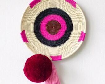 Chunga Round - Fuschia, wall basket, rattan basket, wall plate, rattan plate, woven plate, woven basket, tribal hanging, wall decor