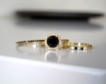 Black Onyx Engagement Ring. Black Engagement Ring. Black Wedding Ring. Black Onyx Ring. Unique Engagement Ring. 14K/18K Yellow Gold.