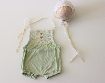 baby 1st birthday outfit, Baby Romper, Baby Girl Romper, lace baby romper, Cake Smash Girl Outfit, Photography Romper, Green baby Romper