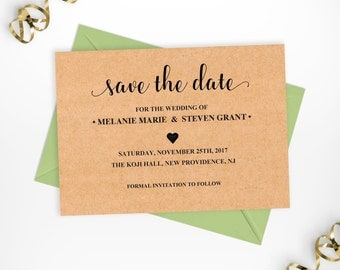 Save the Date Card Editable Template, Editable Save-the-Dates, Rustic Kraft Printable Save the Date Editable Template, Instant Download