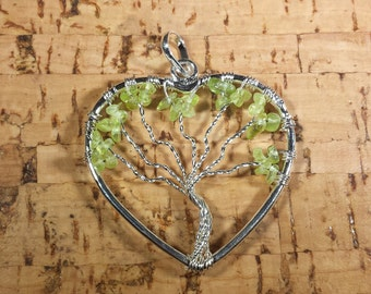 Heart Style PERIDOT Tree Of Life Wire Wrapped Pendant Stone Natural Gemstone