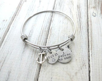Personalized Anchor Bracelet - Refuse to Sink - AA Triangle - NA - Recovery Bracelet - Sobriety Bracelet - Personalized Jewelry