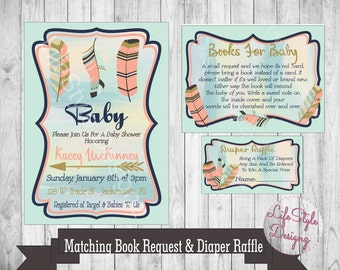 Boho Baby Shower - Baby Shower Invitation - Pink - Teal - Feathers - Arrows - Diaper Raffle - Shower Invite - Bohemian Shower