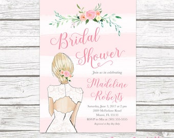 Bridal Shower Invitation, Wedding Dress Invitation, Floral Bridal Shower Invitation, Pink Bridal Shower Invite, Watercolor Bridal Shower