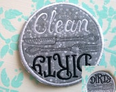 Dishwasher Magnet Clean/Dirty GRAY with SPARKLES