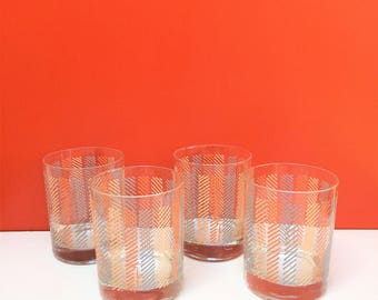 Mid Century Morgan Painted Tumblers, set of Four Glasses