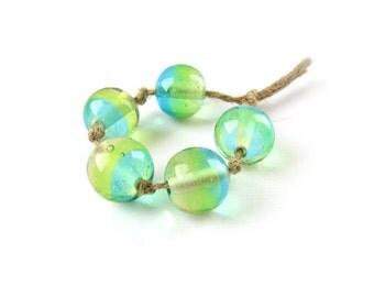 5 pcs 18mm Lampwork Beads, Handmade Lampwork Bead Set, Glass Bead Set, Murano Glass Beads, Round Beads, Green Yellow Blue Clear