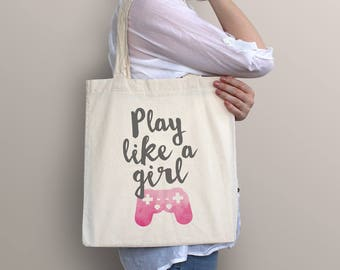 Video Game Tote Bag - playstation / Play like a girl
