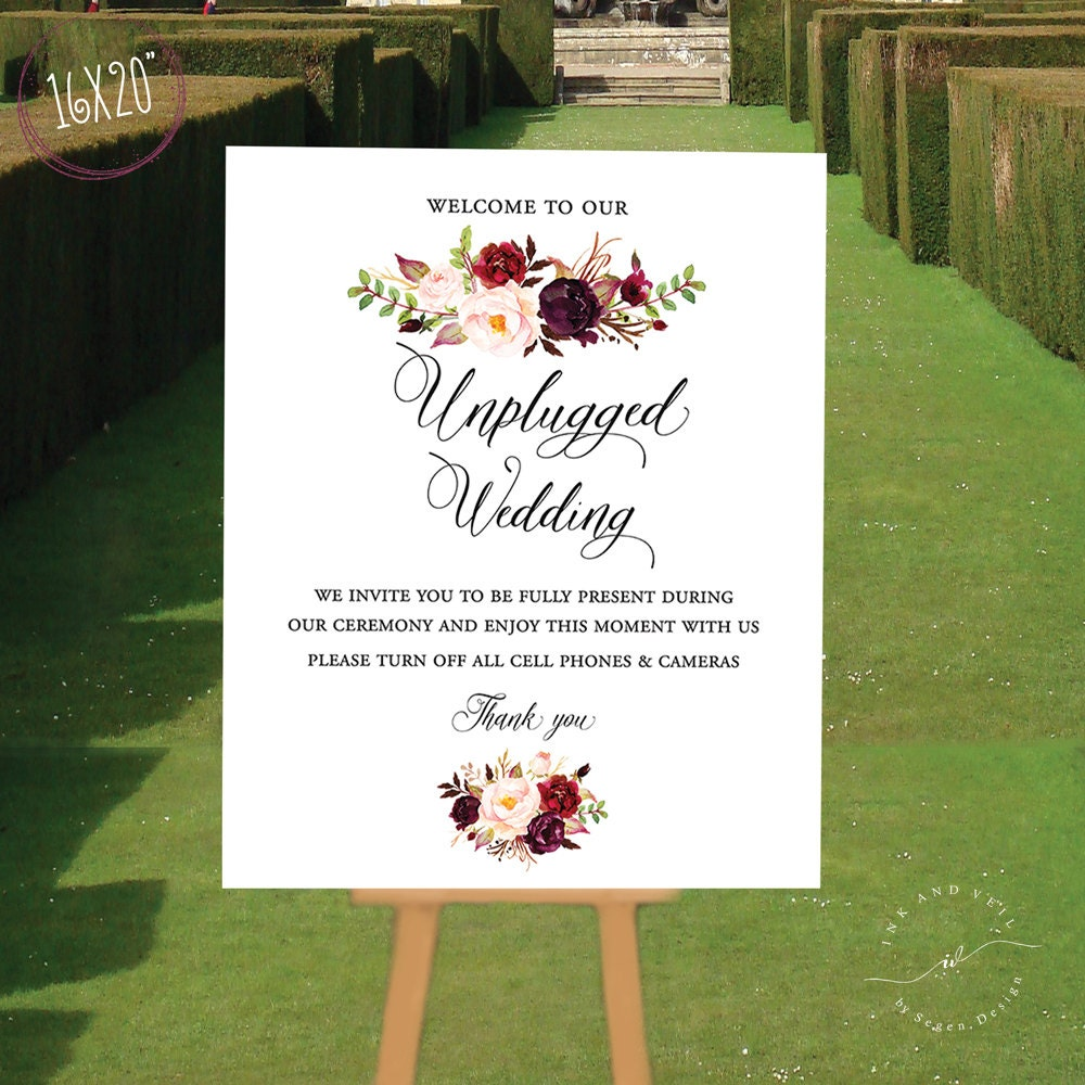 unplugged ceremony sign unplugged wedding sign unplugged sign no phone sign no