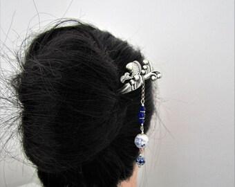 Tsunami Hair Stick, Tidal wave hair stick, Japanese hair stick, fish hair stick, oriental hair pin, kanzashi, Ornate Hair Pin, Bun Accessory