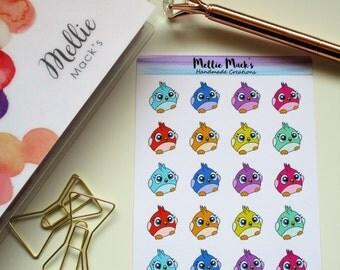 KAWAII LITTLE BIRDS Icons Planner Stickers for Erin Condren, Plum Paper, Happy Planner, Kikki K