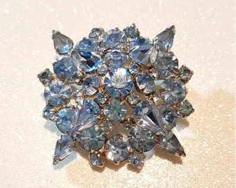 Vintage Double Stacked Baby Blue Rhinestone Pin Brooch