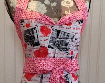 Women's ruffled full apron, Paris theme, red toile, red hearts, pink hearts, black gingham check