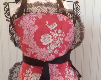 French Maid Apron, Pink and white flowers, Black lace, jennifer paganelli fabric