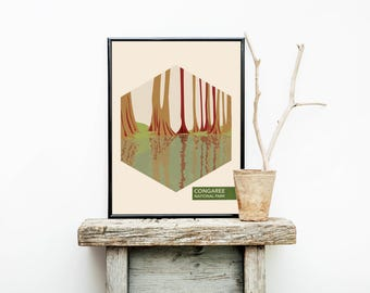Congaree Print - Minimalist Poster - National Park Poster - Outdoor Wall Art Decor - National Parks - Wall Decor – Art Prints – Woodland
