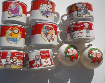 Vintage Campbell's Soup Collectible Christmas Ornaments and Mugs