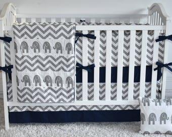 CUSTOM CRIB BEDDING - Grey elephants, grey and navy, baby boy, safari nursery, modern nursery, patchwork blanket