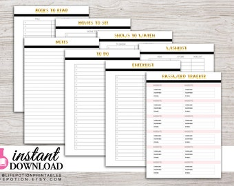 A5 Planner Printable - To Do - Notes - Password Tracker - Lists - Filofax A5 - Kikki K Large - Design: Goldie