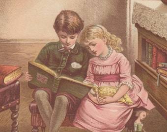 Little Girl With Her Victorian Dolls Reading with Her Brother Antique Children Art Lithograph Print 1885