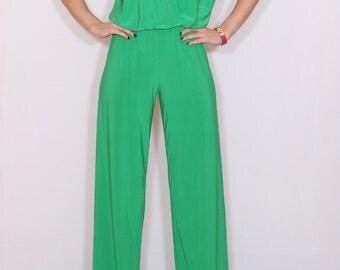 Bright green jumpsuit Sleeveless jumpsuits women Wrap top