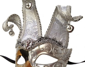 Harlequin Silver Jester Masquerade Mask U146