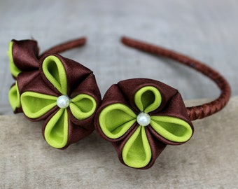 Fabric flowers headband Birthday Baby girl christmas gifts for her Cute gifts for teen girl Kanzashi child headband Green brown accessory