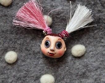 Dolls face brooch, handmade brooch doll, brooch for children, jewelry brooch doll, ooak doll brooch, gift brooch doll, art doll ornament