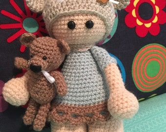 Crochet Doll and Teddy - Ready to ship