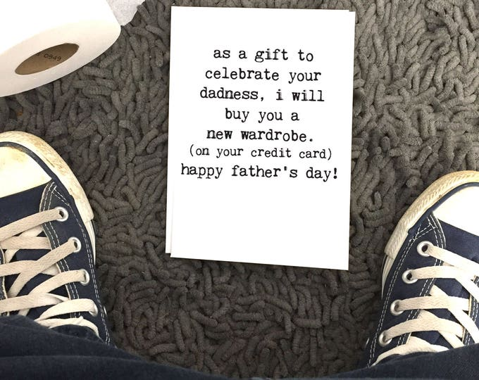 Featured listing image: Father's Day Card, I'll Buy You A New Wardrobe, Dad Card, Blank Inside, Wholesale, Chucklcards, Card for Dad