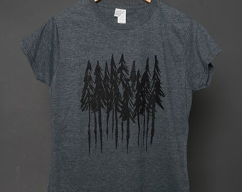 Forest Trees T-Shirt Woman's clothing tree top woods shirt nature clothing graphic pines tee tree woods printed shirt oitdoors shirt camping
