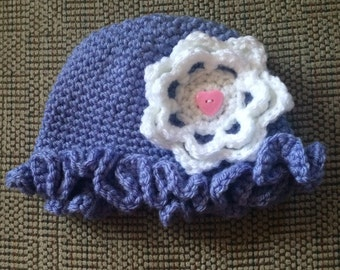 Baby girl's purple hat, Crochet flowered Hat, purple Hat with Flower, Girl's Hat, Crochet Kids Hat, Crochet Baby Photo Prop,Hat For baby