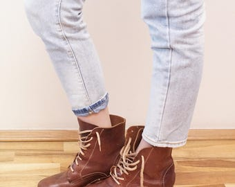 Real Vintage Wooden Soles Boots Brown Leather Booties woman shoes Eu39  UK6 US8 1/2
