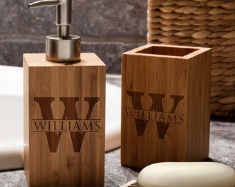 Personalized Vanity Set - Custom Engraved Bamboo Bathroom Vanity Set with Family Initial - Toothbrush Holder + Soap Dispenser + Soap Dish