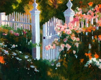Garden Gate Painting, Floral Painting, Garden Oil Painting, Spring Flowers