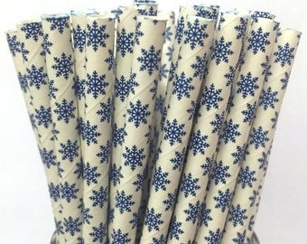2.85 US Shipping -Winter Paper Straws - Blue straws - Cake Pop Sticks - Drinking Straws