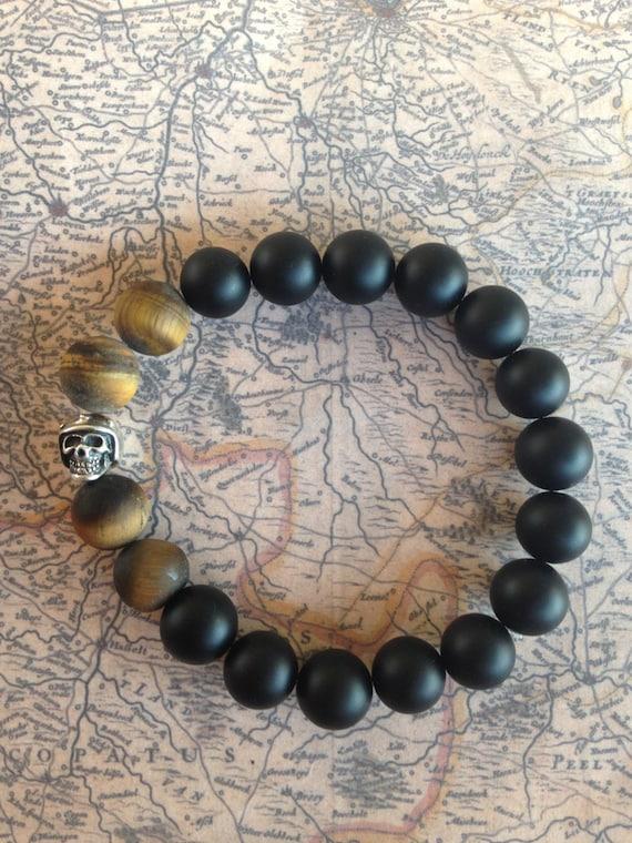 Natural men beads bracelet Onyx (big 10mm), Tiger Eye & Sterling Silver Biker Bead