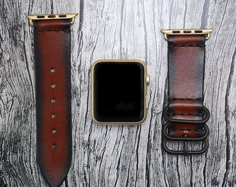 Brown Genuine leather apple watch band 42mm / 38mm // apple watch strap leather - iwatch band leather accessories - iwatch strap adapter