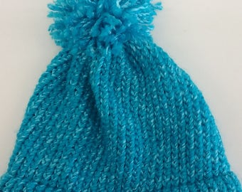 Soft Blue Hat - Loom Knitted