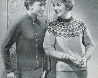 Vintage Knitting Pattern - 50s sweater with Circular Yolk & Classic Cardigan - PDF Download - Retro 1950s sweaters