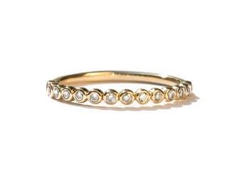 Bezel Set Diamond Eternity Ring 18k 14k . Diamond Wedding Band . Bubble Eternity Ring . Stacking Ring. Yellow White Rose Gold . Polamai
