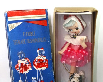Vintage Japanese Pose Doll Walking Her Dog In Original Box 1960's VHTF! Pose Doll