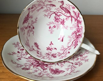 Vintage Coalport Pink Birds Bugs Butterflies Bone China Tea Cup and Saucer, Pink and White Teacup and Saucer,