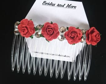 Red Rose Hair Comb Diamante Hair Comb Bridesmaid Hair Comb Wedding Hair Comb Bridal Hair Comb Up Do Red Flower Girl Hair Red Hair Accessory