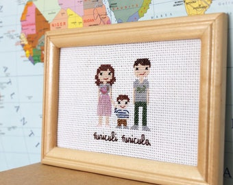 Cross Stitch Portrait, Custom Portrait Cross Stitch Gift - finished and framed photo embroidery, Family Photo Cross Stitch, Anniversary Gift